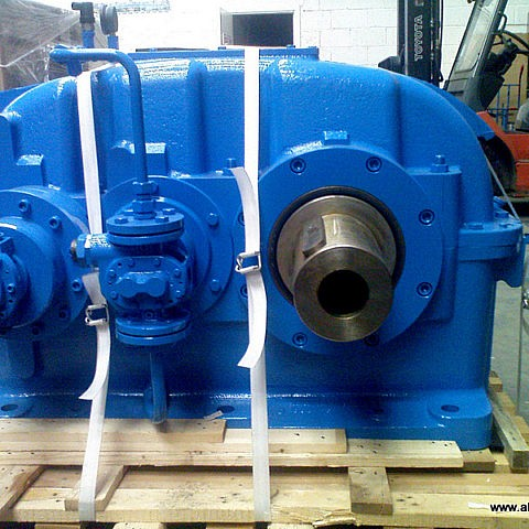 A new Flender Water Turbine Gearbox we supplied to a grain mill in Co.Offaly to produce power from an old water wheel.
